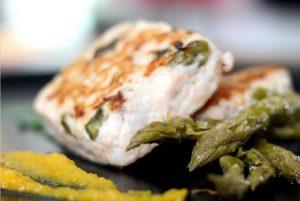 Hamburger di pesce spada agli asparagi